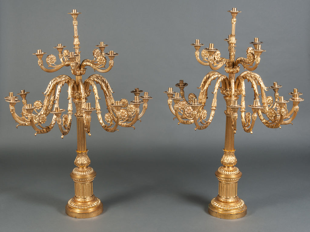 A Fine Pair of Large Late 19th Century English Ormolu Bronze Sixteen-Branch Candleabras / torcheres