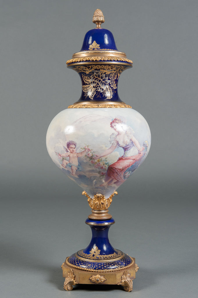 An Unique French Sevres Style Hand Painted Porcelain Lidded Vase