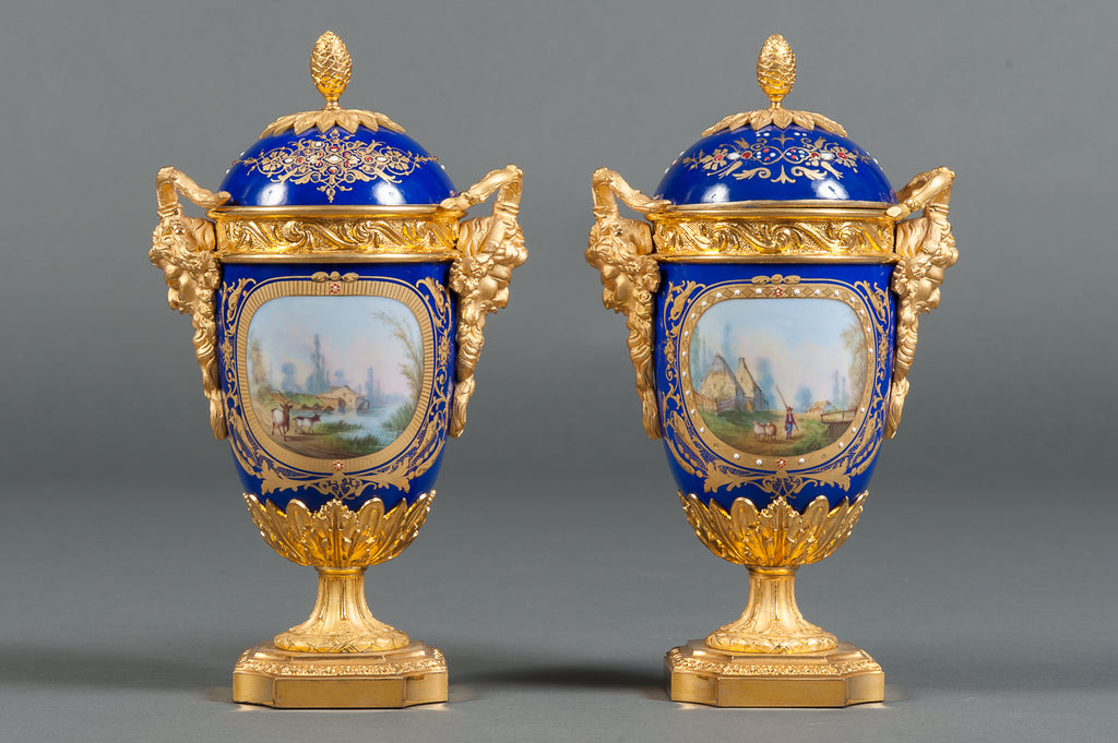 A Pair of Fine 19th Century French Gilt Bronze Mounted & Cobalt Blue Sevres Style Lidded Vases