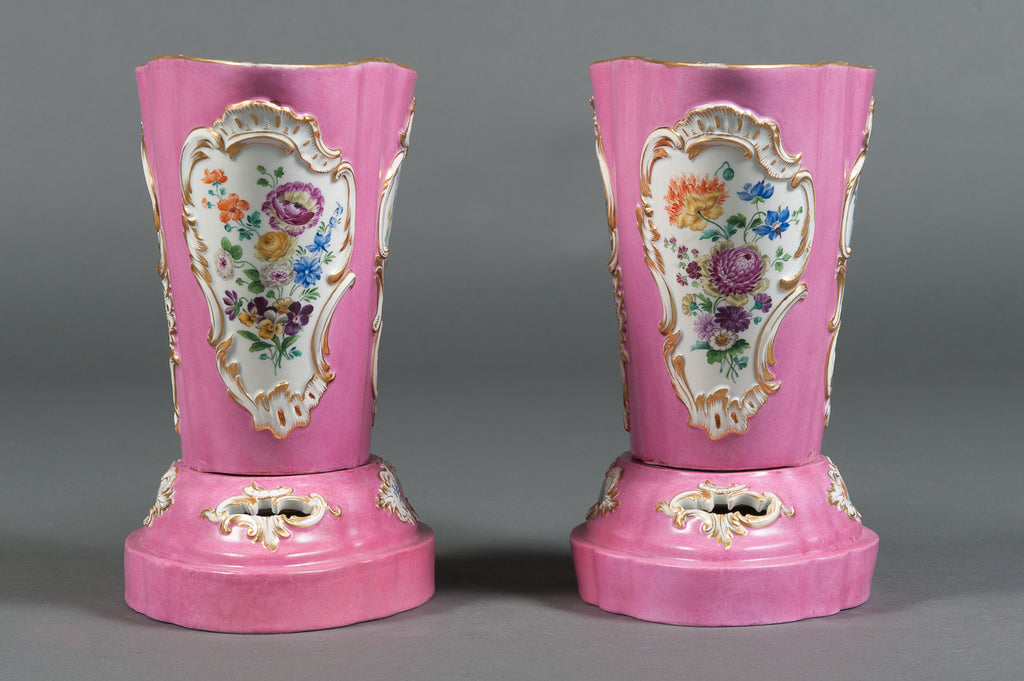 A Pair of 19th Century Pink Ground Meissen Porcelain Cachepots on Bases