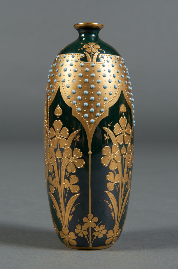A Royal Vienna Style Hand Painted & Jeweled Porcelain Vase