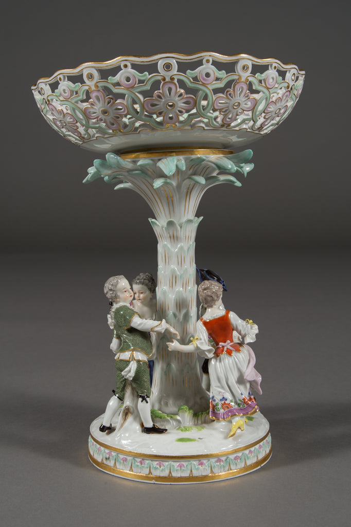 A Meissen Porcelain Figural Reticulated Compote/Circa 1900