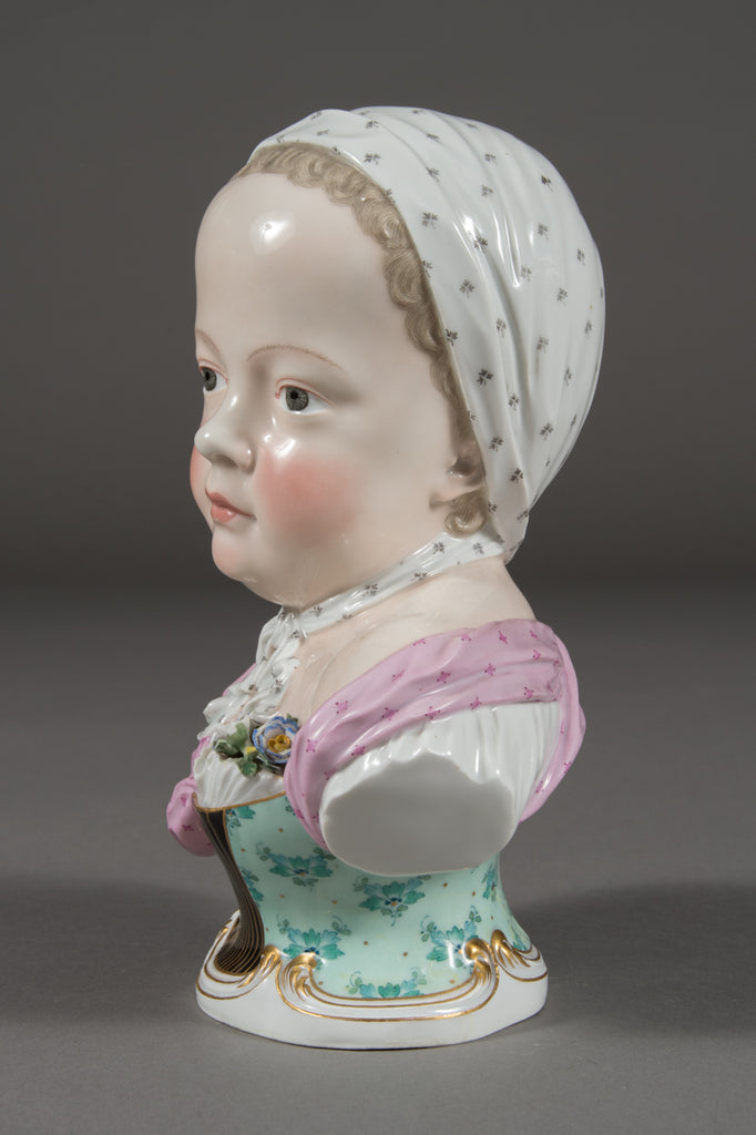An Antique Meissen Porcelain Portrait Bust of a Bourbon Child