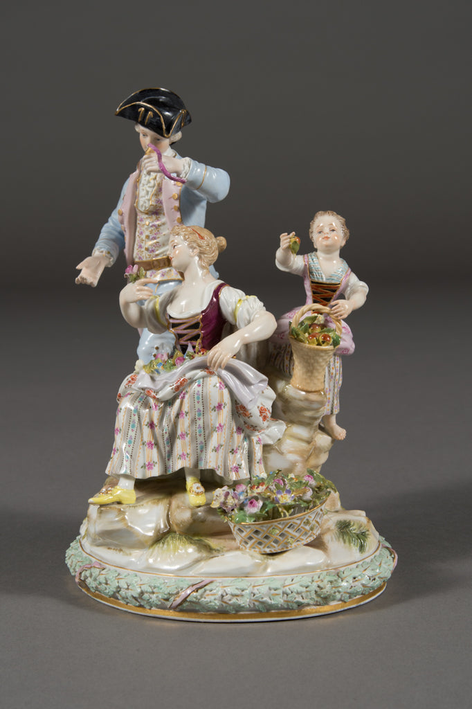 Antique Meissen Porcelain Figural Group Depicting Flower Pickers