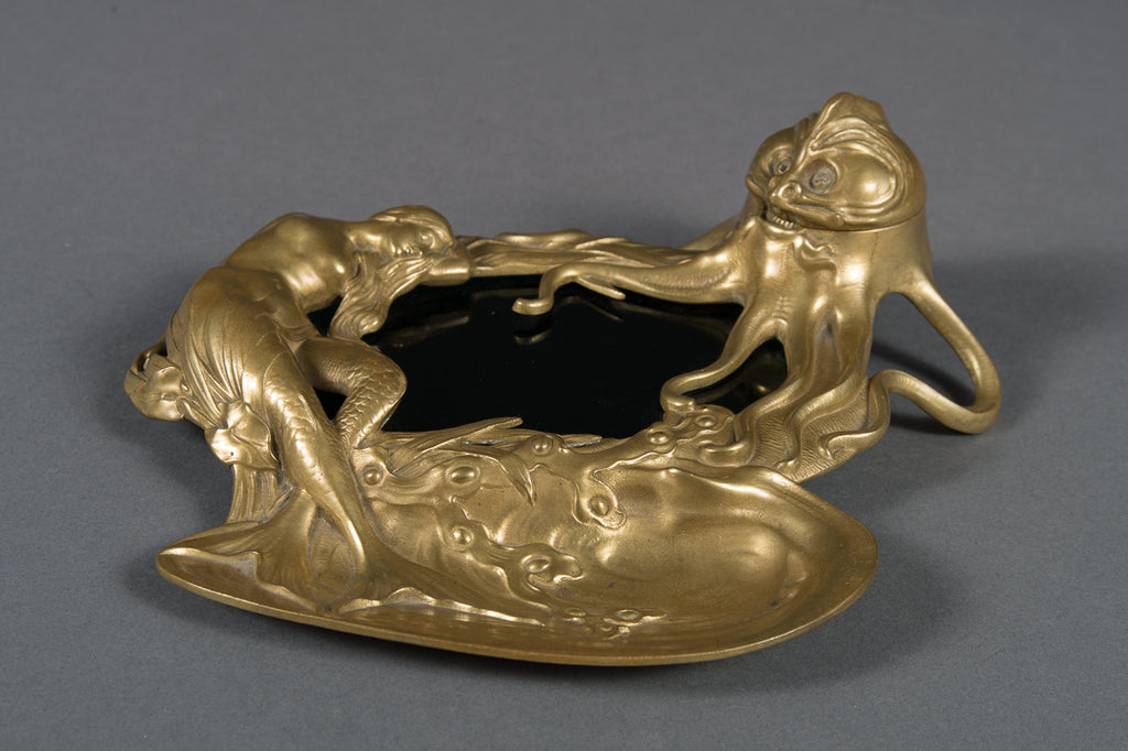 An Antique Viennese Bronze Inkwell with Mermaid & Octopus Design Marked Geschutzt