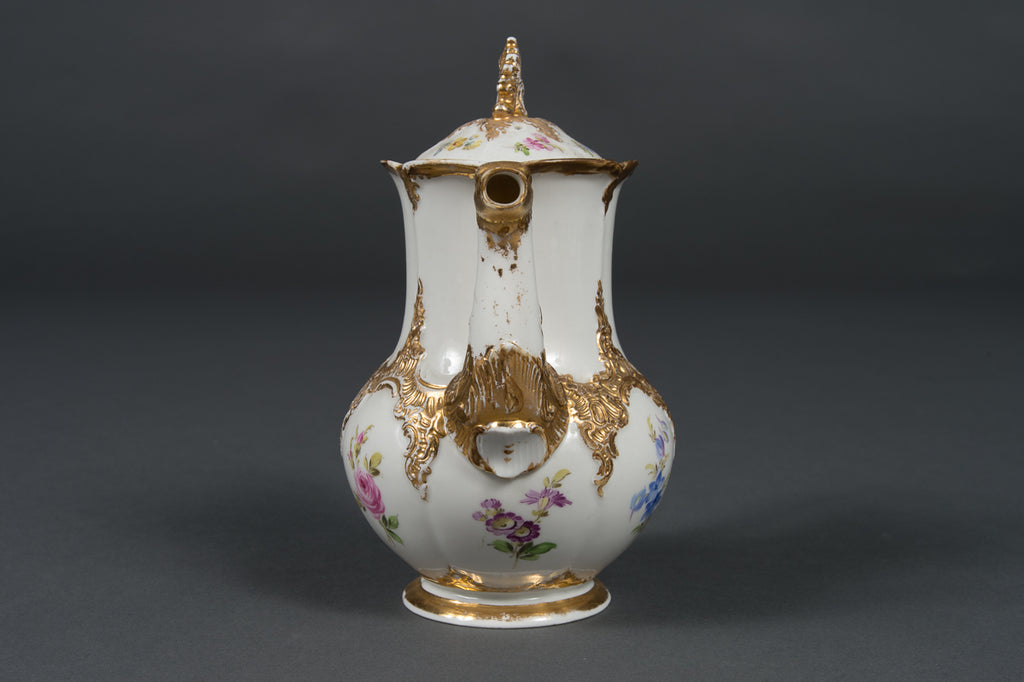 A 19th Century Antique Meissen Porcelain Floral & Gold Decorated Tea Set