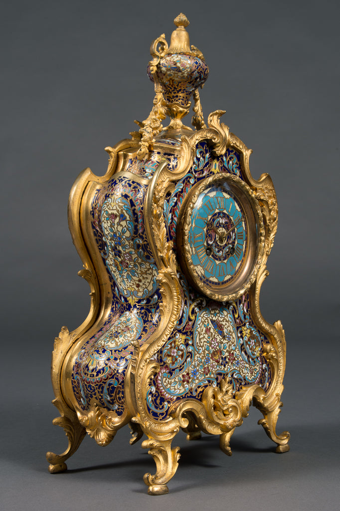 A Late 19th Century French Ormolu Bronze & Champleve Enamel 8-Day Regulator Clock