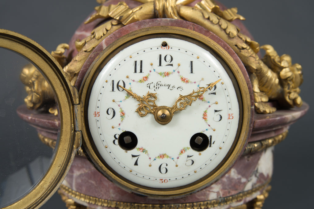 A Fine Late 19th Century Antique French Tiffany & Co. Marble & Ormolu Bronze Clock Garniture