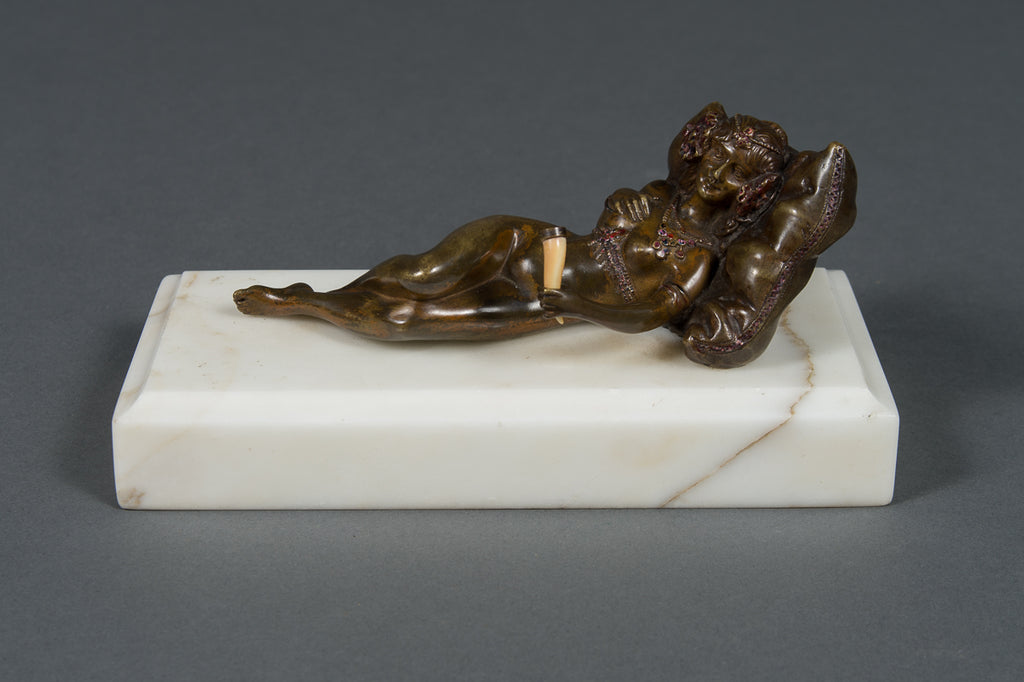 An Austrian Bronze Cold Painted Figure of a Nude on a White Marble