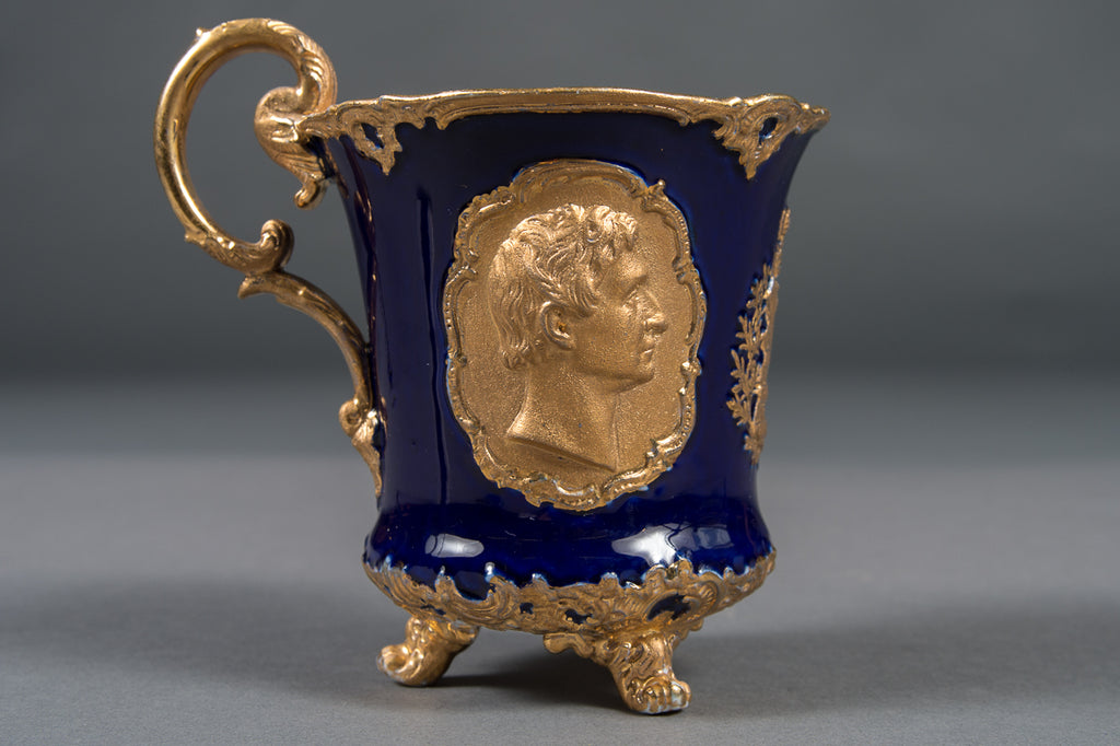 A 19th Century Antique Meissen Cobalt Blue & Gold Decorated Kings Cup Depicting Tzar and Tzarita on Each Side