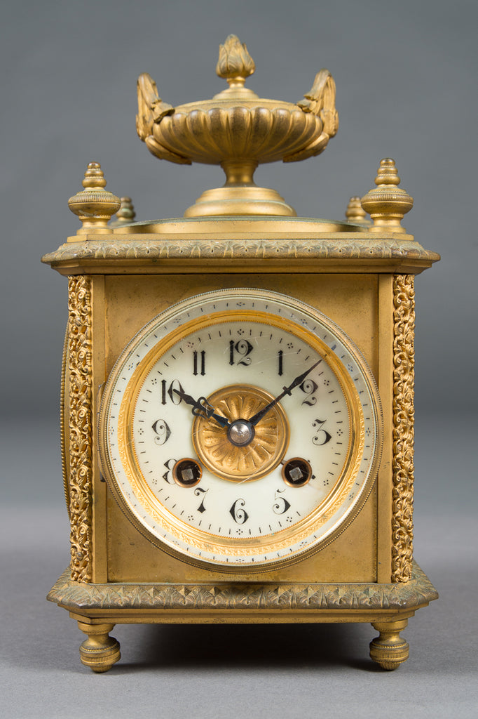 A French Gilt Bronze 8-day Four Face Mantle Clock w/ Date, Temperature & Barometer