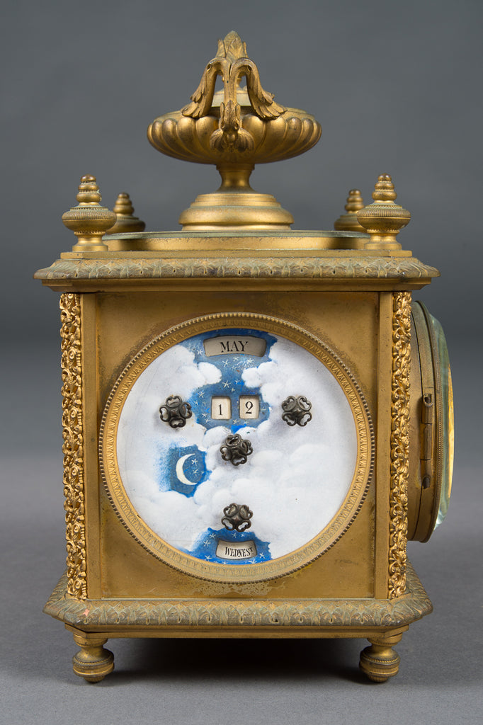 French Gilt Bronze Four-Face Clock with Date Thermometer and Barometer