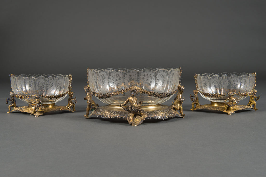A Three-Piece German or Dutch Sterling Silver & Gold Wash Applied Table Garniture
