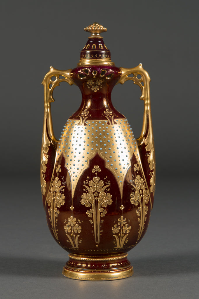 An Austrian Royal Vienna Porcelain Jeweled Iridescent Portrait Vase