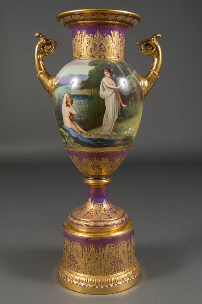 A Fine & Large Austrian Antique Royal Vienna Iridescent Painted Vase