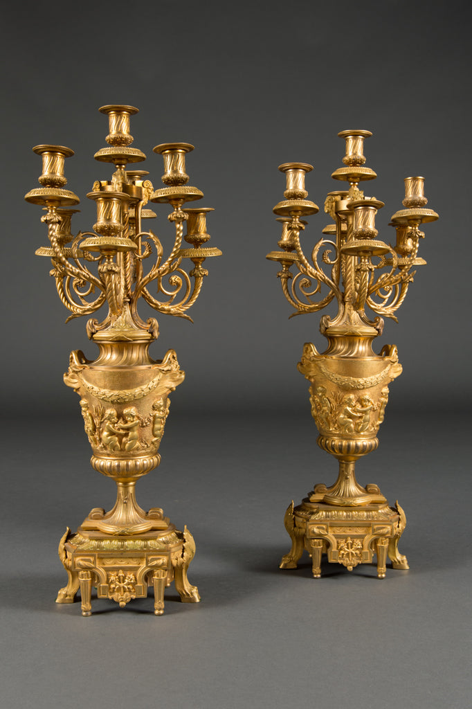 Pair of  French Ormolu candelabras attr. To F.Barbedienne