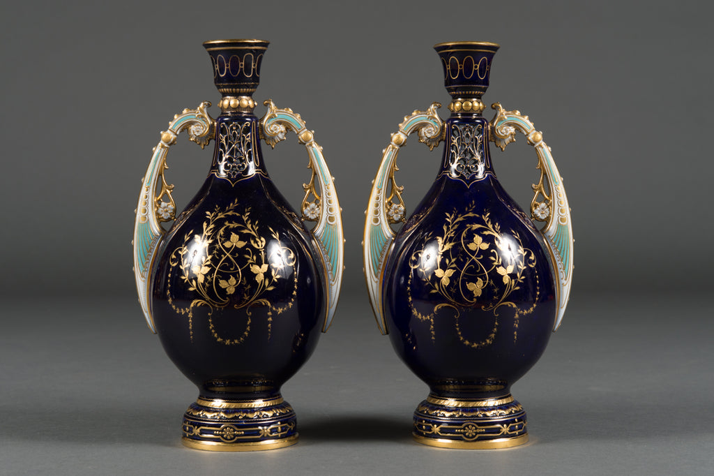 A Pair of Antique Austrian Royal Vienna Style Jeweled Cabinet Vases