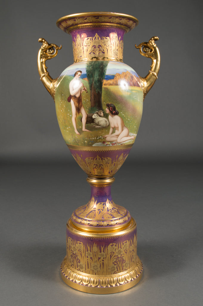 Large Austrian Royal Vienna Iridescent Painted Vase