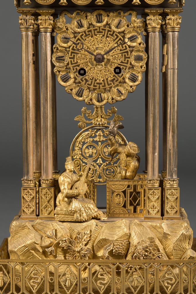 A Very Fine French Silvered and Gilt Bronze 3-Piece Chinoiserie Clock Garniture