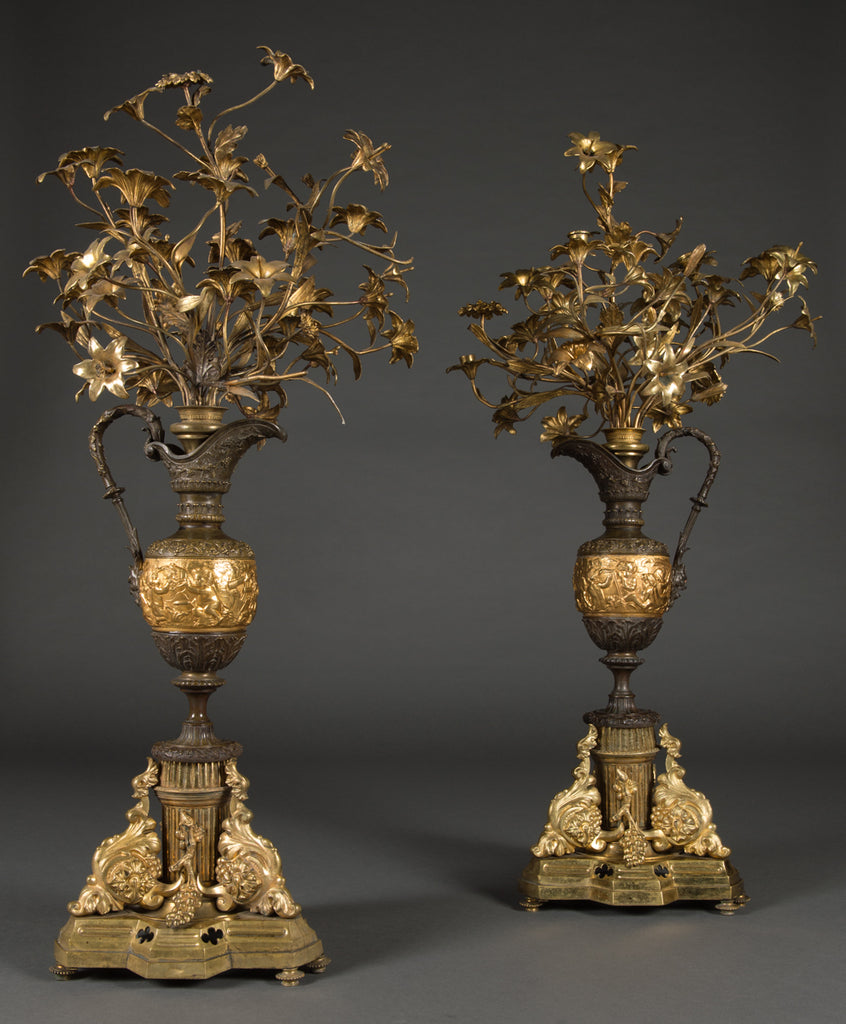 A Pair of large French Gilt Bronze & Patinated Vase Form Candelabras