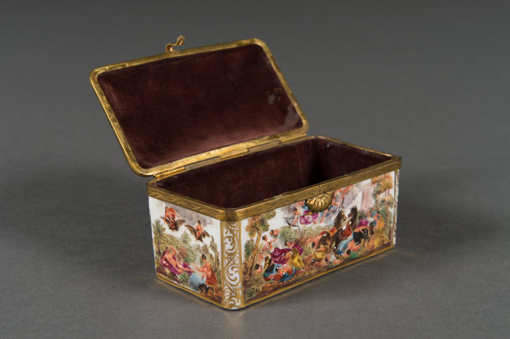 An Early 20th Century Italian Capo Di Monte Brass Mounted Box