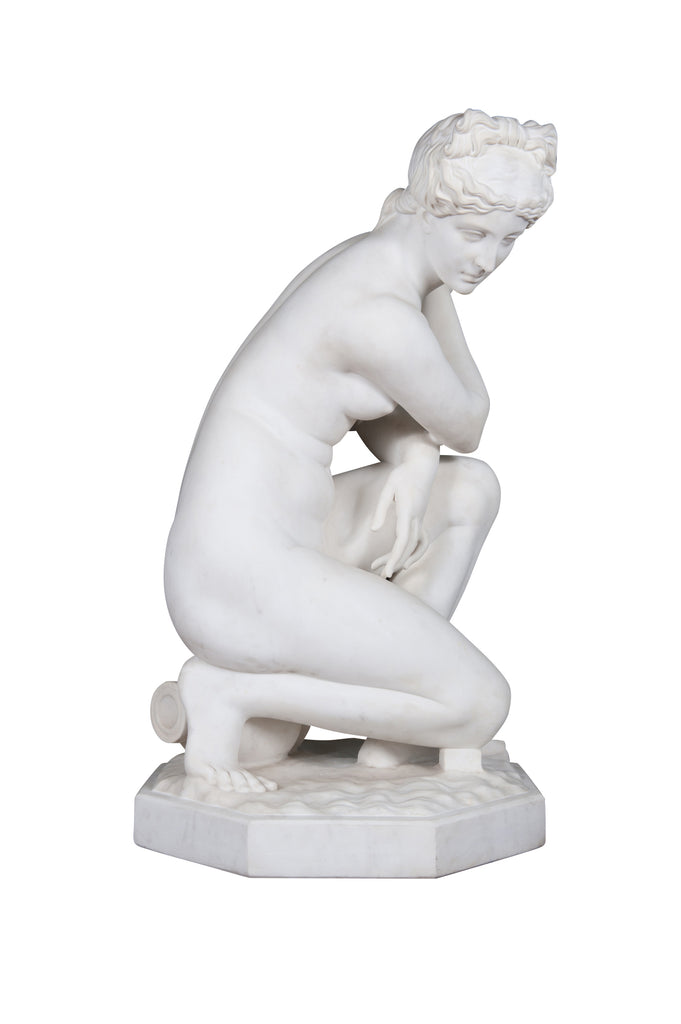 19th Century Marble Figure of  'The Crouching Venus' on pedestal