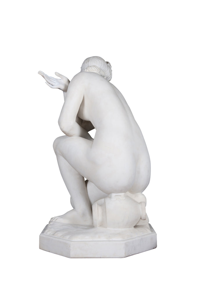 "19th Century Marble Figure of ""The Crouching Venus"" and pedestal"