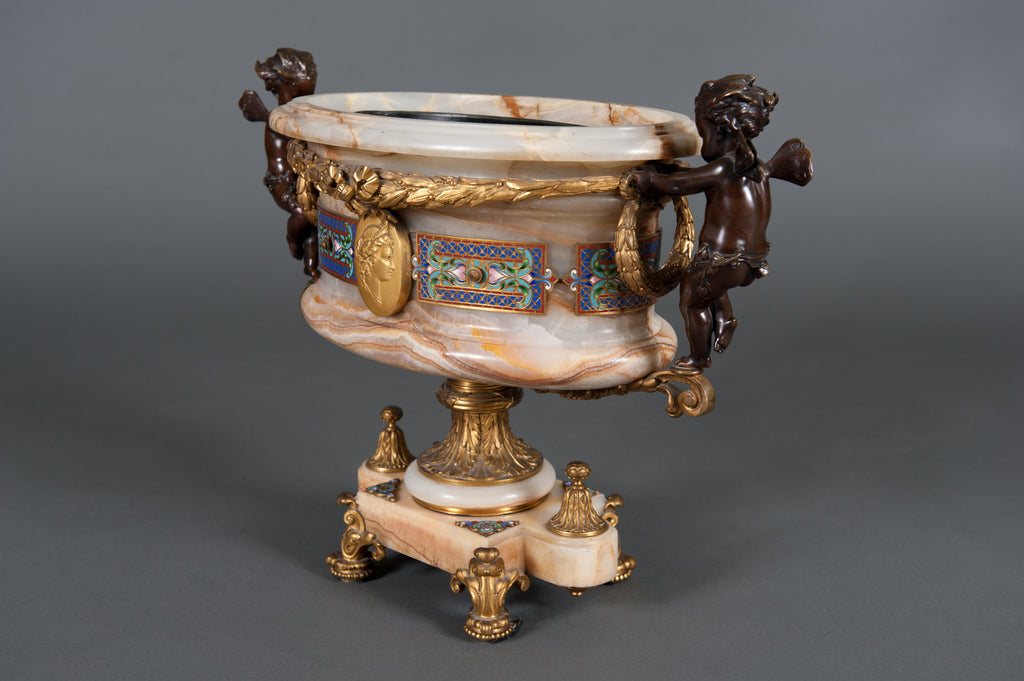 An Important French 19th Century Onyx-Gilt-Bronze, Patinated Bronze & Champleve Enamel Jardinière, Centerpiece by Eugene Cornu