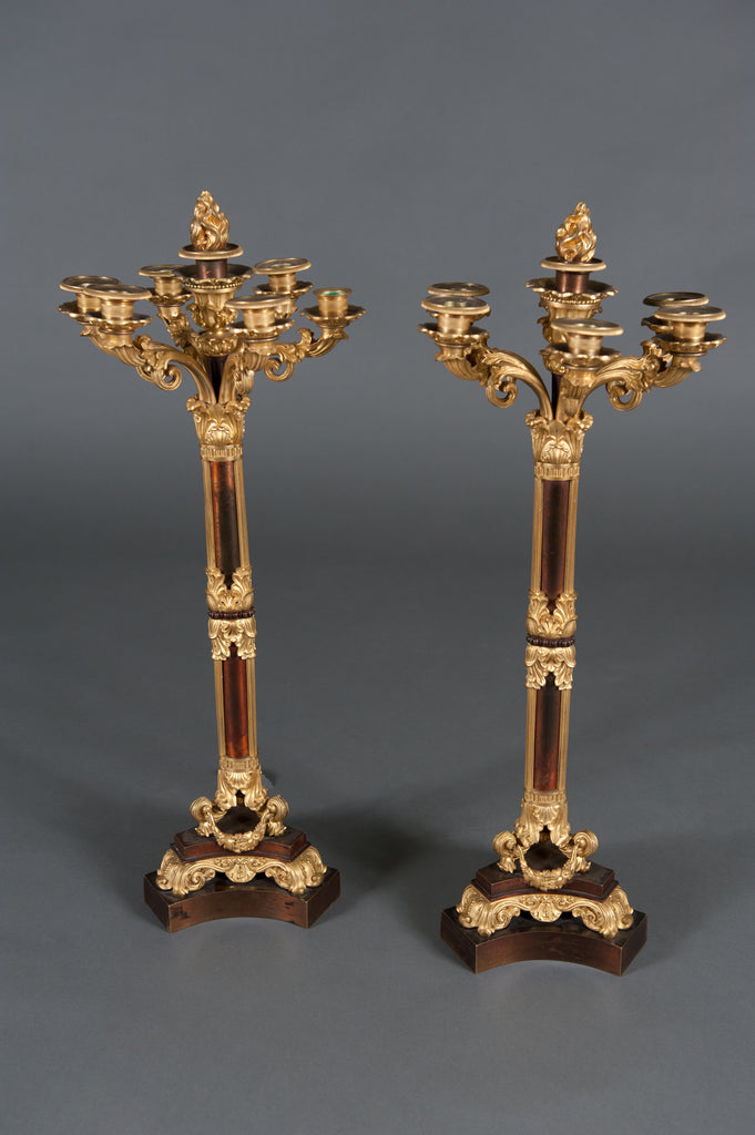 Pair of French Louis Phillipe ormolu and patinated bronze 7 light candelabras