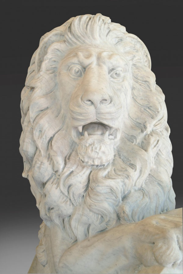 A Pair of Lifesize English White Marble Lions After Joseph Gott