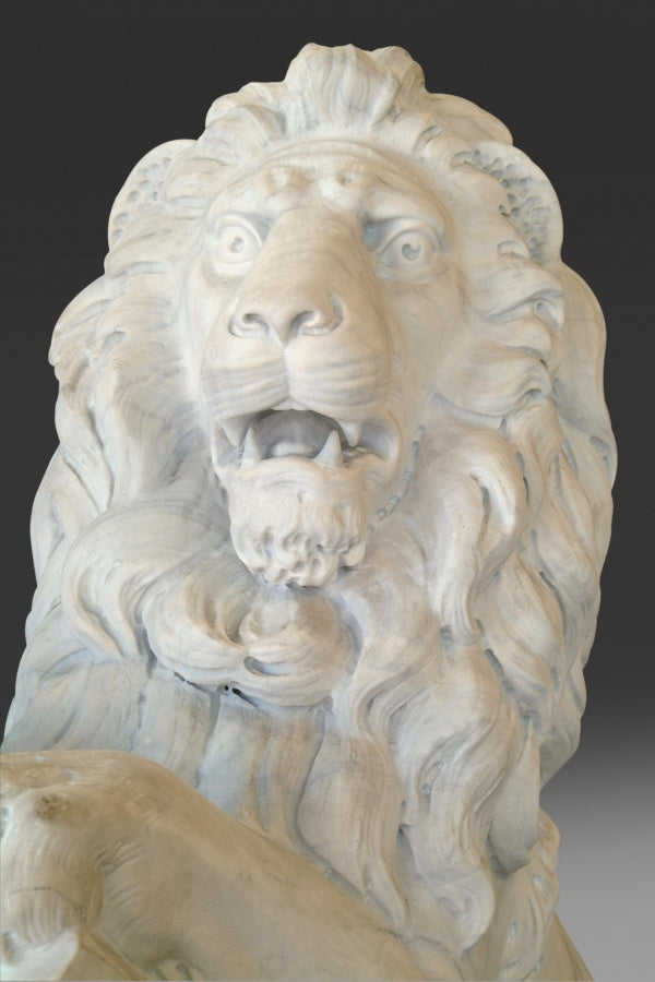 Pair of Lifesize White Marble Lions After Joseph Gott