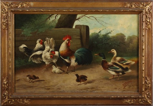 Pair of Oil on Canvas Paintings Depicting chickens and ducks