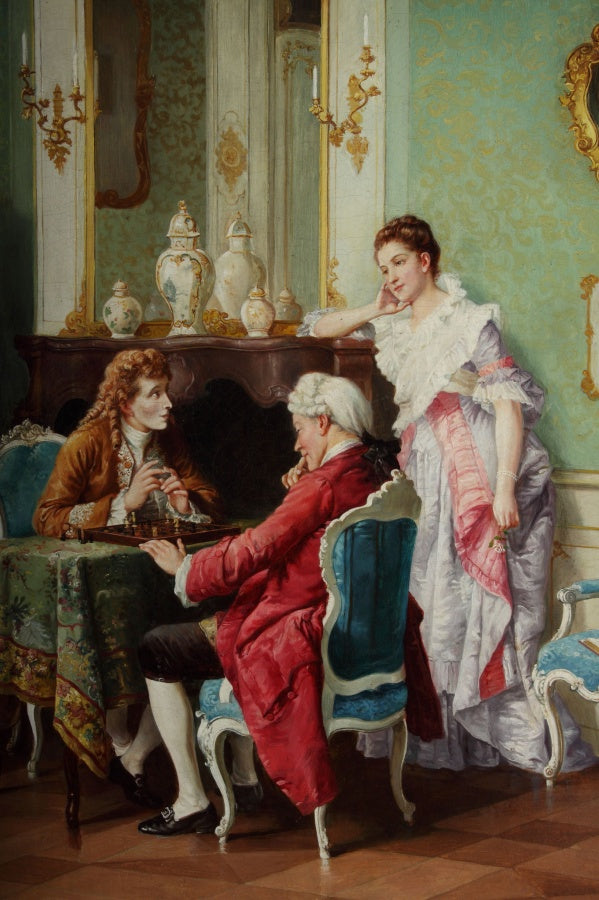 'The Chess Game',  oil on painting by Ernesto Ricardi