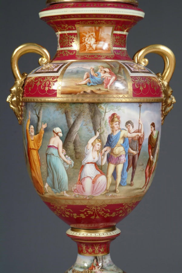 A Fine and Large 19th Century Austrian Royal Vienna Style Porcelain Hand-Painted Baluster Vase & Cover