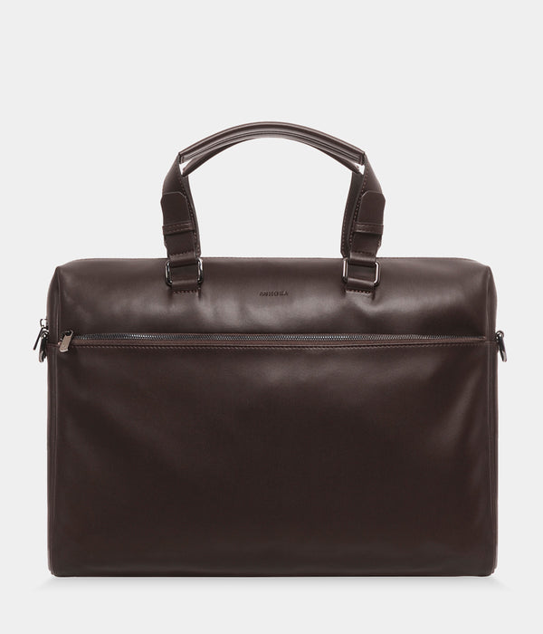 Porte-documents vegan sans cuir Marcel chocolat- Malette Briefcase vegan et eco responsable