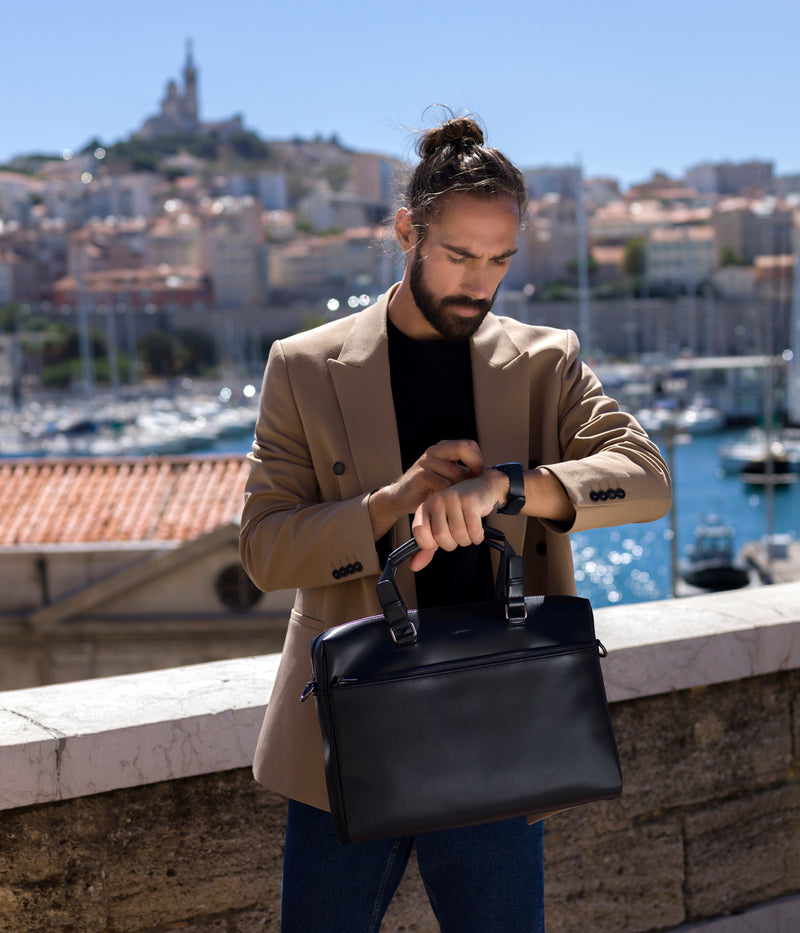 Porte-documents vegan sans cuir Marcel noir - Malette Briefcase vegan et eco responsable