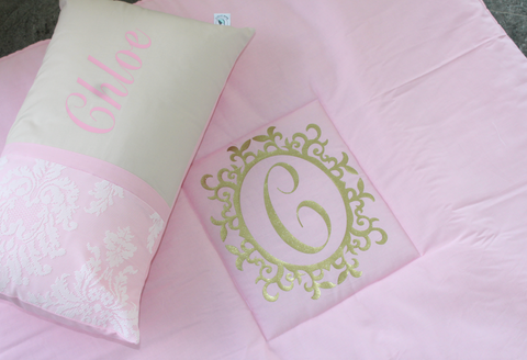 Baby Pink Play Mat with gold monogram