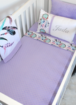 Dreamcatcher Panel Blanket Cot Set - Lilac and Silver - PREMIUM