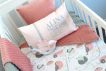 Coral Peach Love Birds Cot Set - PREMIUM