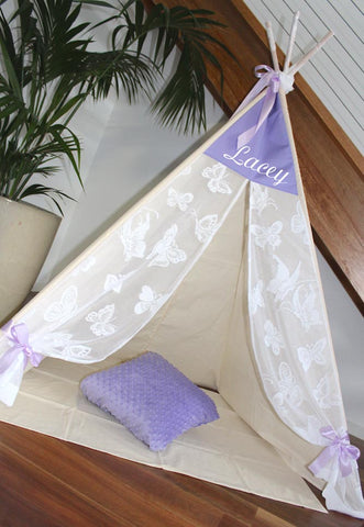 Lavender Butterfly Vintage Lace Teepee