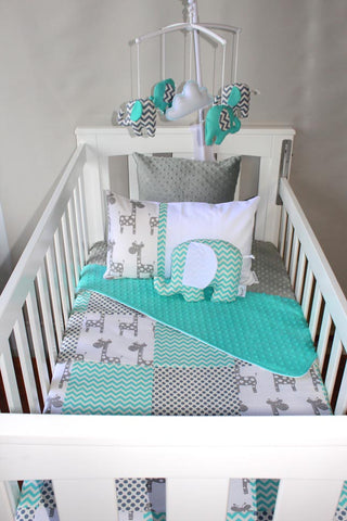 Mint Giraffe Patch & Mint Chevron Comforter Set