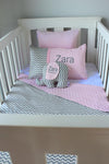 Grey Chevron & Baby Pink Mink Cot Set