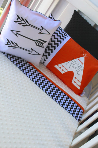 "Burnt Orange & White ""Be Brave"" Cot Blanket - Hoot Designz"