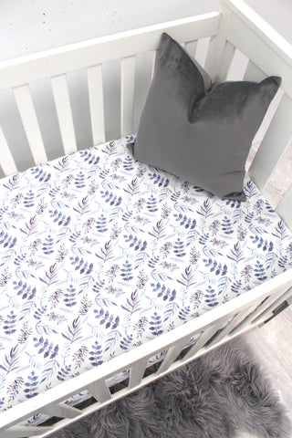 Blue Leaf Fitted Sheet