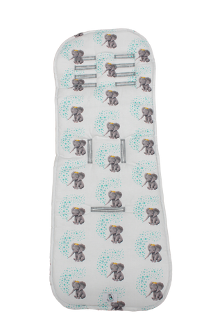 Elephant with crown and mint stars Pram Liner