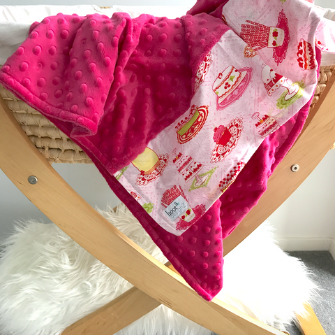 Personalised Pram Blanket - Raspberry  Mink | Sweet Cakes