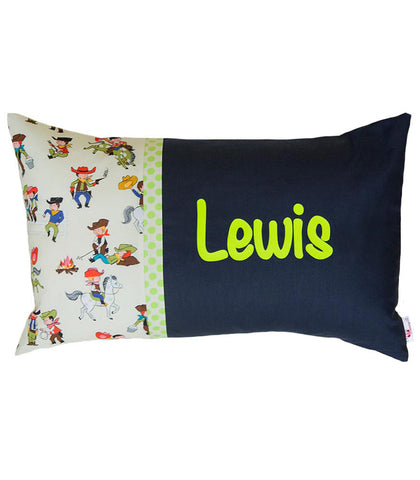 Personalised Cushion Lime & Navy Cowboys