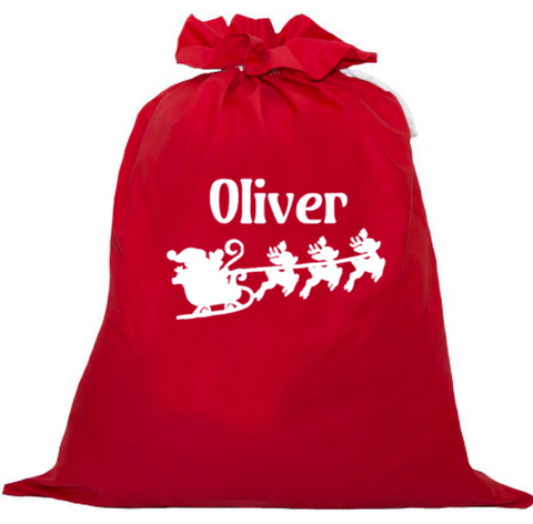 Personalised Santa Sack - Santa's Sleigh and Reindeer