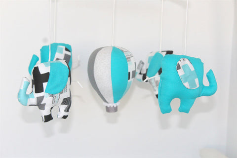 Musical Mobile-Aqua & grey geometric elephants