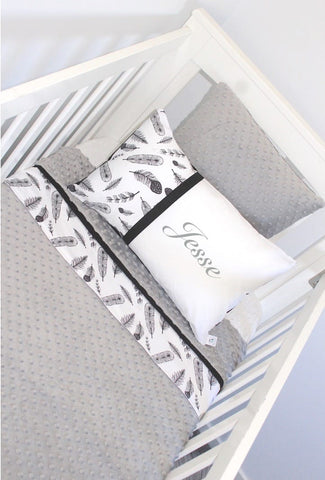 Panel Blanket Cot Set - Black Feathers